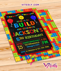 Blocks Invitation, Blocks Birthday Invitation, Building Blocks Invitation, LEGO Invitations