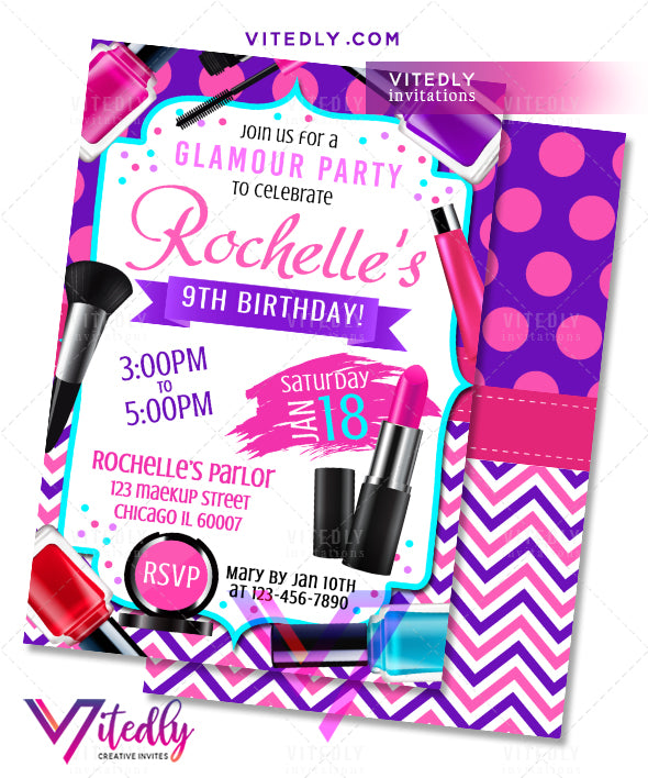 Spa Party Invitation, Sleepover Birthday Party, Makeup invitation, Makeup birthday party