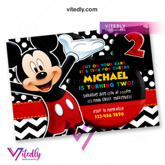 Mickey Mouse Invitation, Mickey Mouse Birthday Invitation