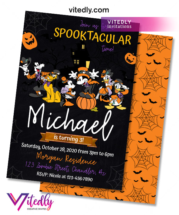 Mickey & Friends Halloween Birthday Invitation