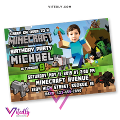 Minecraft Birthday Invitations