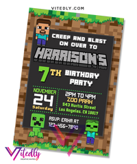 Minecraft Invitation, Minecraft Birthday Invitation