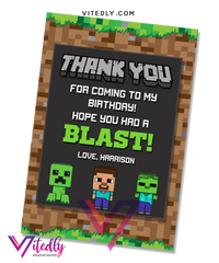 Minecraft Thank You Card