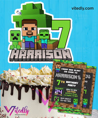 Minecraft Invitation with Cake Topper