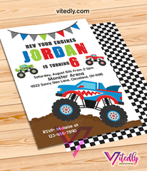 Monster Truck Invitation, Monster Truck Birthday Invitations