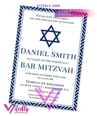 Elegant Navy Blue Bar Mitzvah Invitation