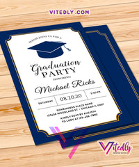 Navy Blue Graduation Party Invitation