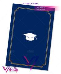 Navy Blue Graduation Party back design