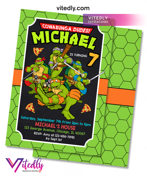 Ninja Turtles Birthday Invitation