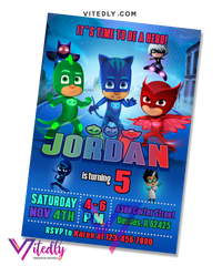 PJ Mask Birthday Invitation