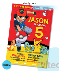 Pokemon Invitation, Pokemon Birthday Invitation, Pikachu Invitation, Pikachu Birthday