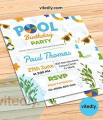 Pool Party Invitation, Swimming Pool Birthday Party, Pool Party Invites, Summer Party Invites