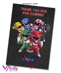 Power Rangers Thank you card