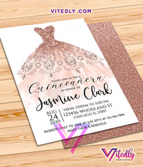 Rose Gold Dress Quinceañera Invitation
