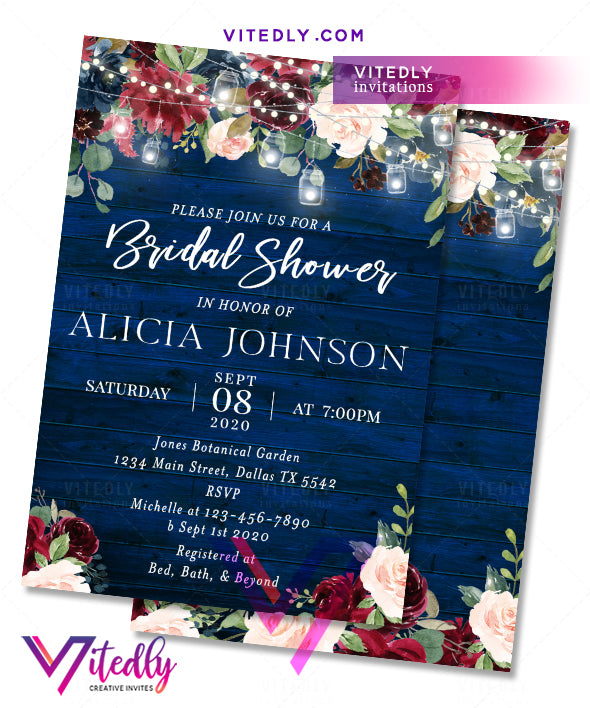 Rustic Blue Wood Bridal Shower Invitation