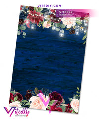 Rustic Blue Wood Bridal Shower back design