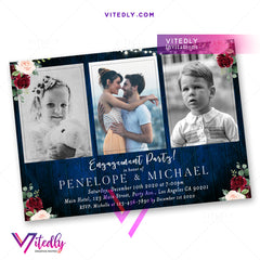 Rustic Blue Burgundy Engagement Party Invitation