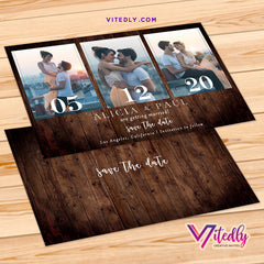 Rustic Minimalist Save the Date Photo Invitation