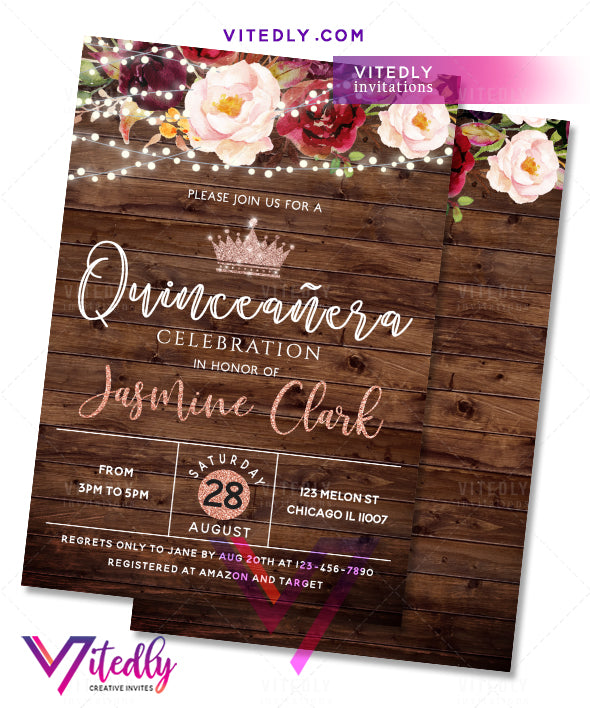 Rustic Wood Burgundy Floral Lights Quinceanera Birthday Invitation