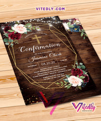 Rustic Wood Confirmation Invitation
