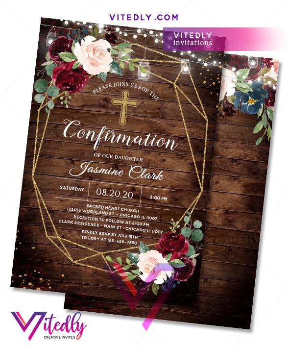 Rustic Wood Floral Confirmation Invitation