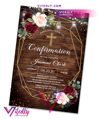 Rustic Wood Burgundy Confirmation Invitation