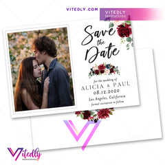 Burgundy Blush Floral Save the Date Invitation