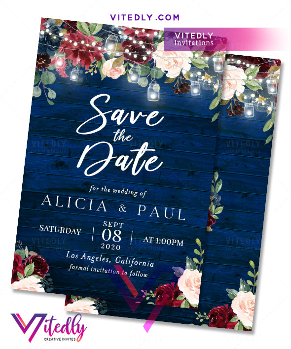 Floral Blue Wedding Save the Date Invitation