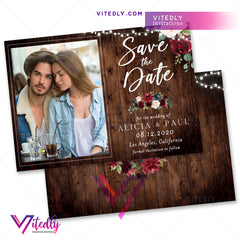 Rustic Burgundy Wedding Save the Date Announcement Invitation