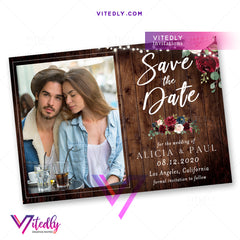 Rustic Save the Date Announcement Invitation