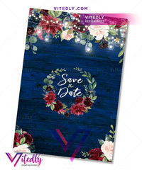 Floral Blue Wedding Save the Date back design