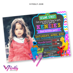 Sesame Street Invitations for girls