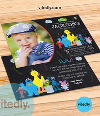 Sesame Street Birthday Invitation with photo, Sesame Street Birthday Theme, Sesame Street Themed Party