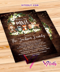 Woodland Rustic Shower by Mail Invitation