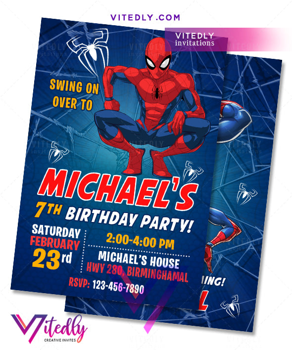 Spiderman Party Invitations, Spiderman Invitations, Spiderman Birthday Invitations