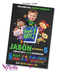 Super Why Birthday Invitation