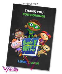 Super Why Thank you card