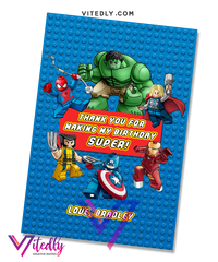 Superhero LEGO Thank you card