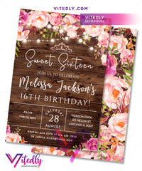 Sweet 16 Invitation Rustic Floral