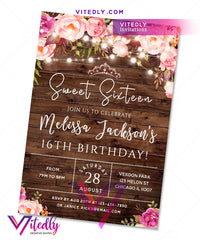 Sweet Sixteen Invitations Floral