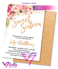 Sweet Sixteen Invitation Gold Floral