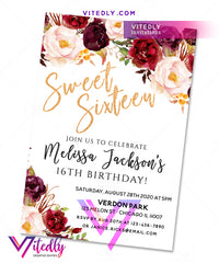 Sweet Sixteen Birthday Invitation Gold Floral