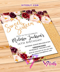 Sweet Sixteen Invitations Gold Floral