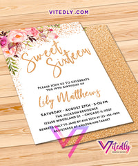 Sweet Sixteen Invites Gold Floral