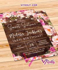 Sweet Sixteen Birthday Invitations Floral Rustic
