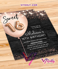 Sweet 16 Rustic Birthday Invitation