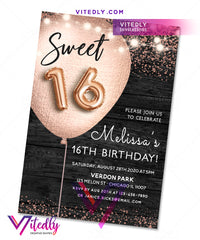 Sweet 16 Rustic Invitation