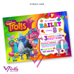 Trolls Birthday Invitations