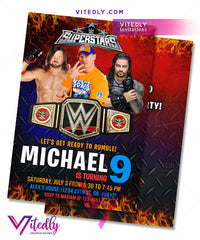 WWE Invitations, WWE Birthday Invitations, Wrestling Invitations, John Cena Invitations, Wrestling Birthday Invites