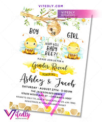 What will Baby Bee Gender Reveal Birthday Invitation